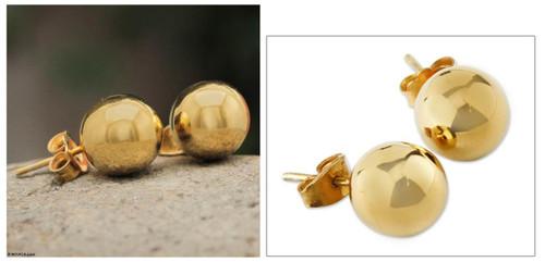 18k Gold Plated Ball Stud Earrings Artisan Made 'Andean Sun'
