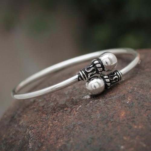 Silver 950 Modern Handmade Wrap Bracelet 'Togetherness'