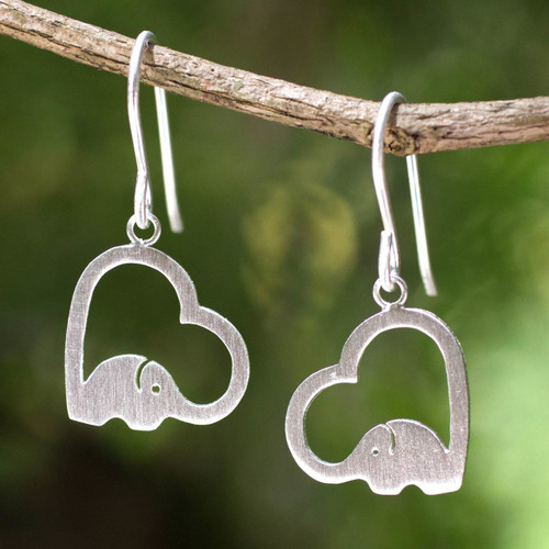 Sterling Silver Heart Elephant Earrings 'Heartfelt Elephants'