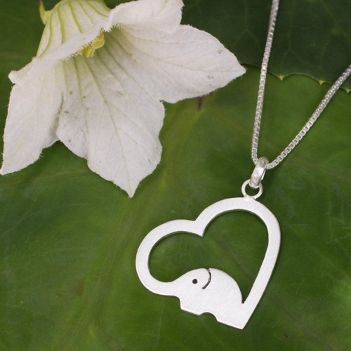 Thai Elephant Jewelry Necklace in Sterling Silver 'Heartfelt Elephant'