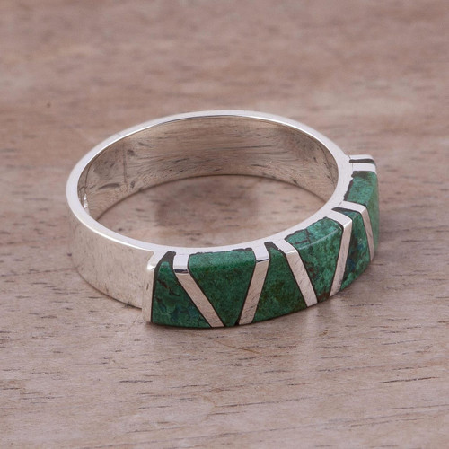Women's Inlaid Chrysocolla 925 Silver Ring 'Moche Mountains'