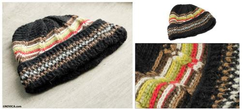 Men's Hat Black 100% Alpaca Crocheted by Hand Yellow Accents 'Night Beacon'