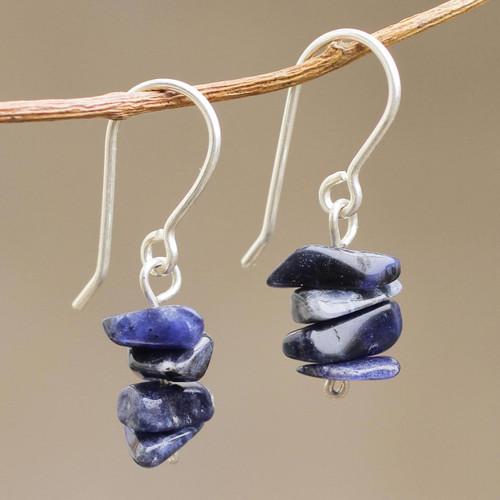 Handmade Sodalite Beaded Dangle Earrings 'Nature's Harmony'