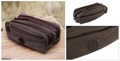 Men's Leather Accent Brown Cotton Travel Case 'Earth Textures'