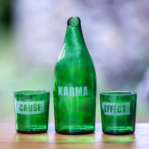 Recycled glass carafe and glasses 'Karma Effect'