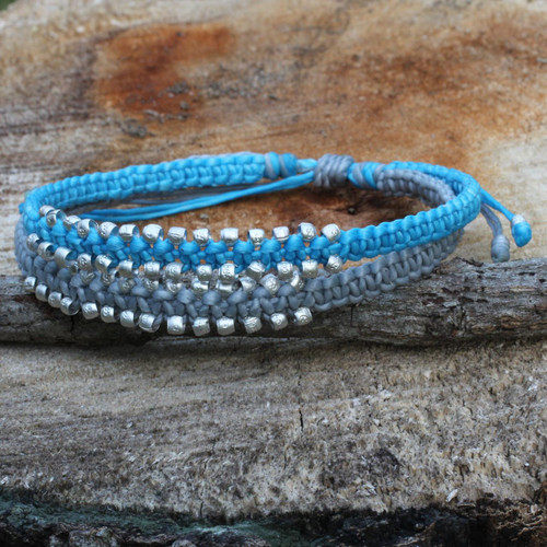 Artisan Braided Bracelet with Silver Plated Beads 'Blue-Gray Urban Siam'