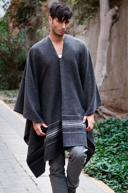 Warm Men's Alpaca Blend Poncho with V-neck from Peru 'Gray Nazca'