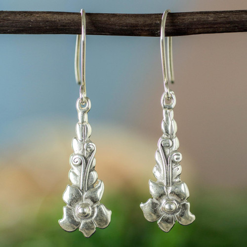 Rustic Silver Floral Earrings 'Baroque Blossom'