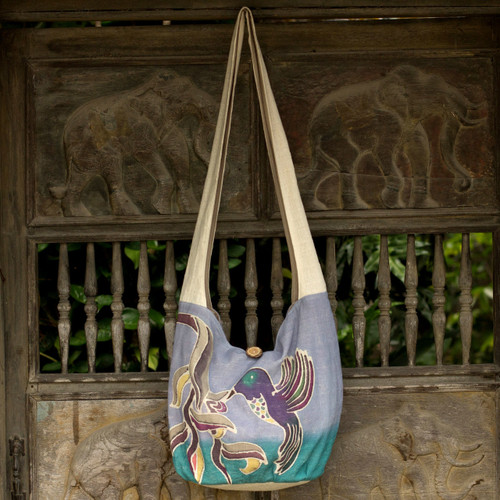 Purple Cotton Sling Handbag from Thailand 'Thai Hummingbird'