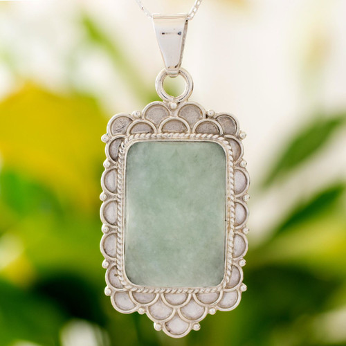 Green Jade Silver Necklace from Guatemala 'Mint Petals'
