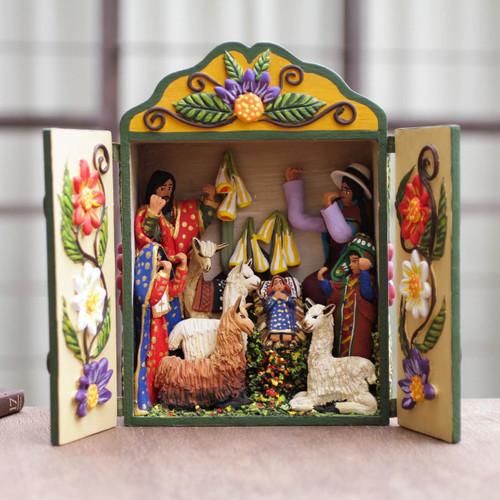 Handmade Andean Retablo Nativity Scene 'Christmas Fiesta'