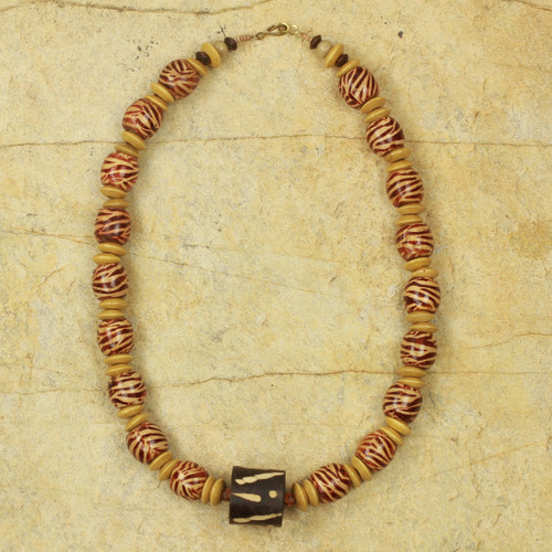Artisan Crafted Necklace Ghana Beaded Jewelry 'Desert Bird'