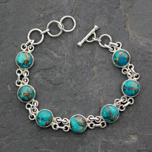 Silver and Comp Turquoise Bracelet from India Jewelry 'Sky Paths'