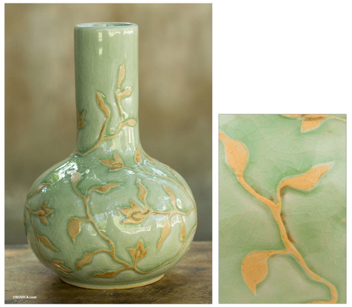 Glazed Celadon Vase Crafted by Hand in Thailand 'Jungle Blooms'