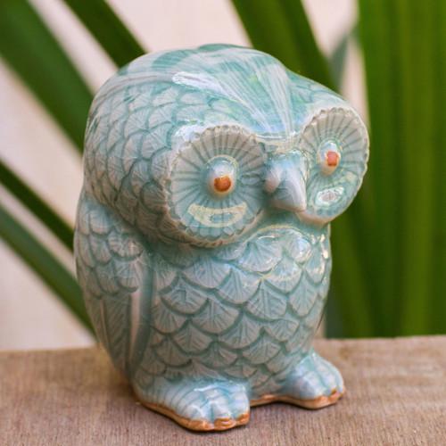 Blue Celadon Ceramic Owl Figurine 'Little Blue Owl'