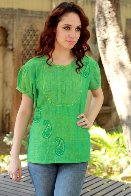 Hand Crafted Women's Paisley Cotton Embroidered Blouse Top 'Feminine Lime'