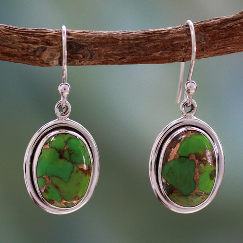India Jewelry Silver and Green Comp Turquoise Earrings 'Rajasthan Secret'