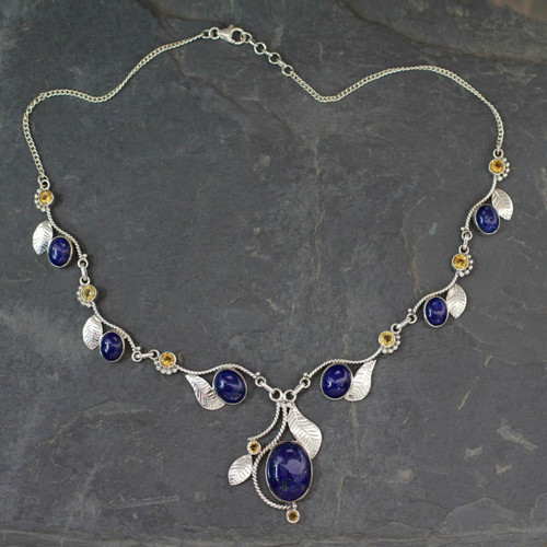 India Jewelry Lapis Lazuli and Citrine Y Necklace 'Dew Blossom'
