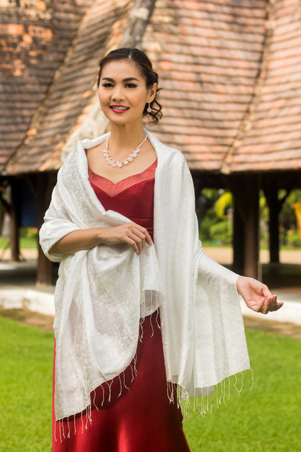 White Floral Brocade Shawl 'Mandarin Snow'