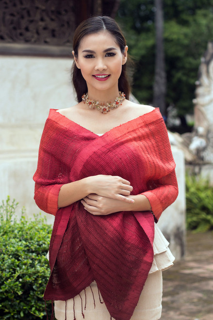 Red Ombre Tie Dye Silk Scarf 'Scarlet Evolution'