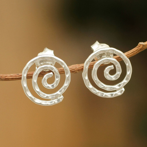 Handmade Sterling Silver Button Earrings from Peru 'Andean Cosmos'