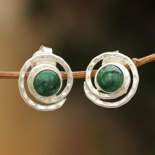 Handmade Sterling Silver Chrysocolla Earrings 'Cuzco Aura'