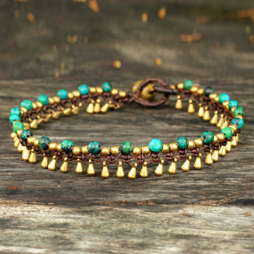 Brass Anklet Green Serpentine Artisan Crafted Jewelry 'Green Dancer'
