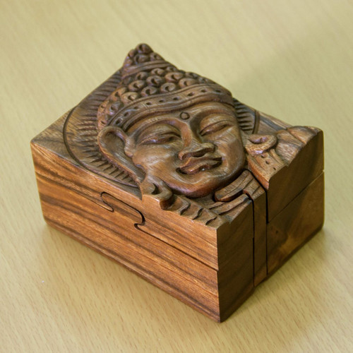 Hand-carved Wood Puzzle Box Buddhist Art 'Glorious Buddha'