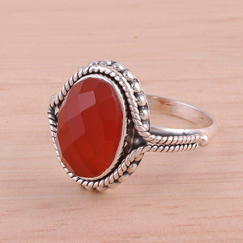 Carnelian Ring Artisan Crafted Sterling Silver Jewelry 'Sun Afire'