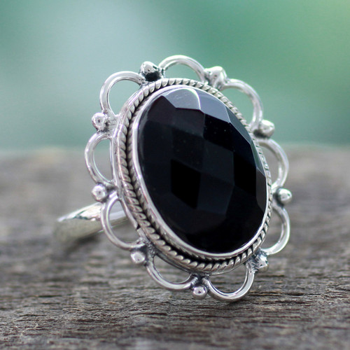 Onyx and Sterling Silver Flower Ring from India 'Midnight Blossom'