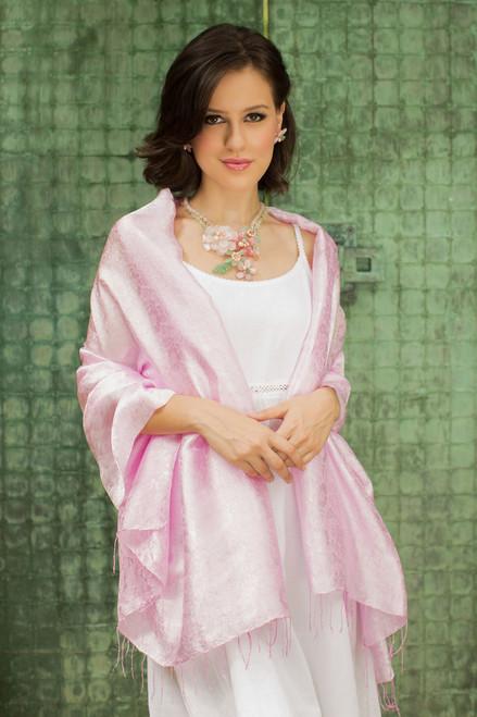 Pink Floral Damask Shawl 'Mandarin Pink'