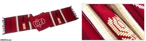 Hand of Fatima Hamsa Cotton Table Runner Handmade 'Red Hamsa'