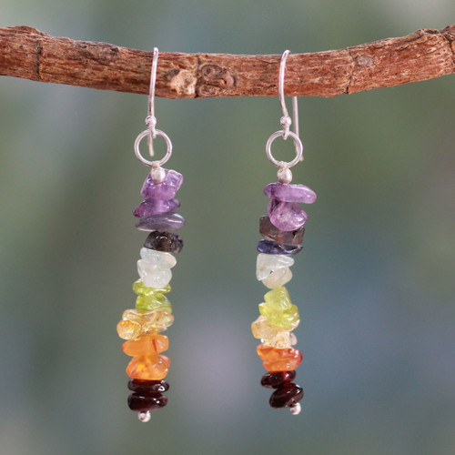 Artisan Crafted 7 Stone Chakra Earrings 'Color Mantra'