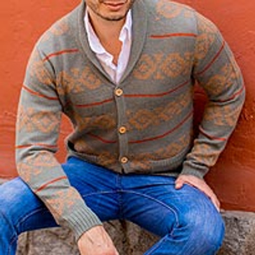Gray Men's 100% Alpaca Cardigan from Peru 'Chakana Traveler'