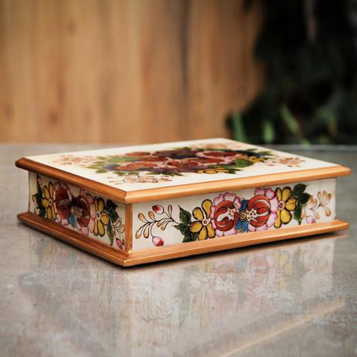 Multicolor Floral Reverse Painted Glass Box Peru 'Cajamarca Blossoms'