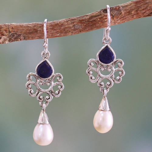 Artisan Crafted Pearl and Lapis Earrings 'Azure Crown'