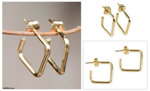 18k Gold Plated Half Hoop Earrings 'Minimalist Chic'