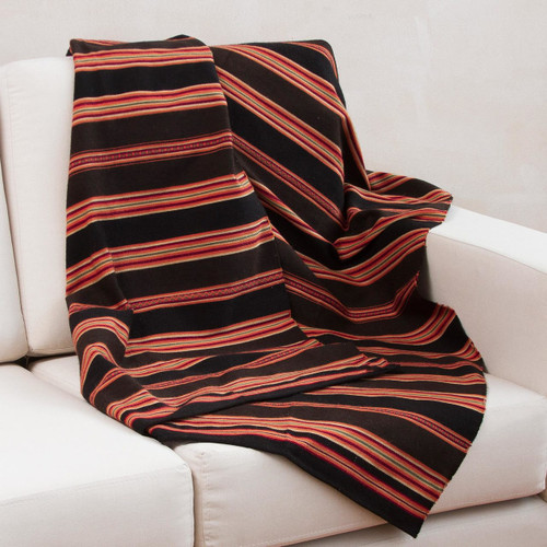 Handwoven Brown and Red Alpaca Blend Throw 'Mountain Deity'