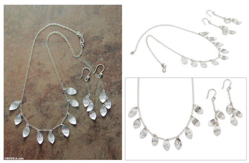 Artisan Crafted Silver Necklace and Earrings Jewelry Set 'Forest Rain'