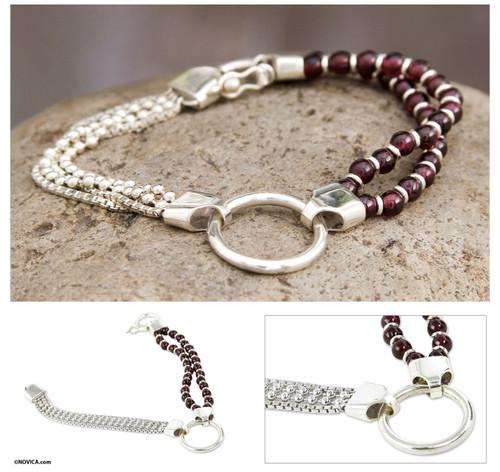 Sterling Contemporary Garnet Bracelet 'Scarlet Elegance'