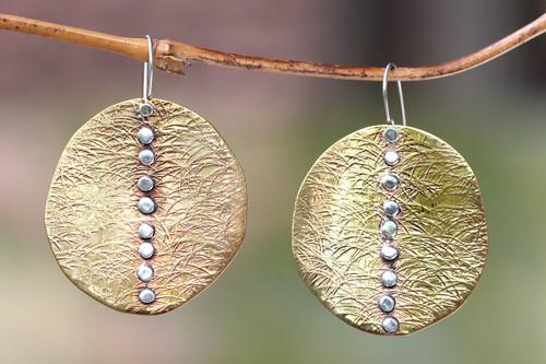 Handmade Silver Accent Brass Dangle Earrings 'Ocean Sunset'