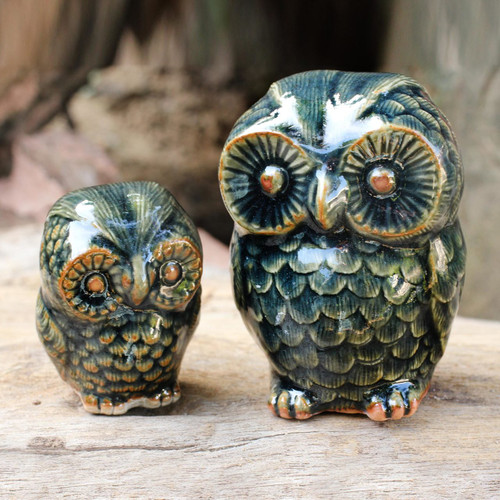 Celadon Ceramic Figurines from Thailand (pair) 'Little Green Owls'