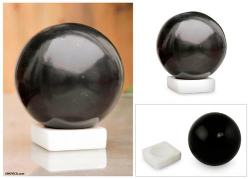 Black Onyx Sphere Sculpture on White Calcite Base 'Night World'
