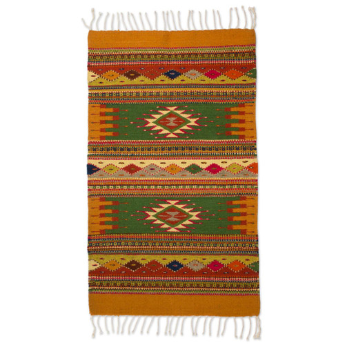 Authentic Zapotec Wool Accent Rug 'Golden Meadows'