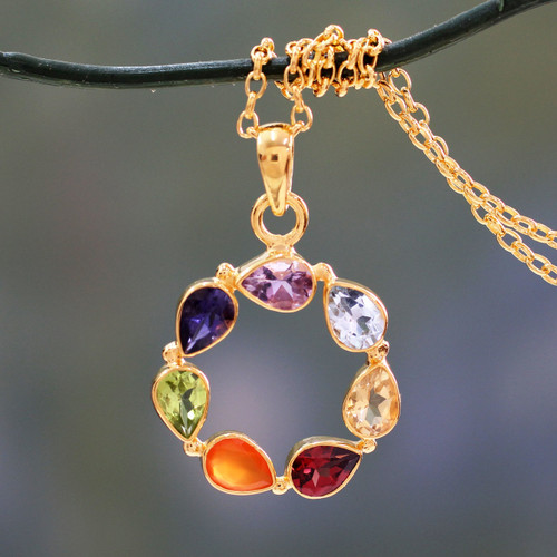 Multi-gemstone Vermeil Necklace Chakra Jewelry from India 'Peace Within'