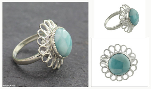 Larimar Single Stone Ring 'Azure Blossom'