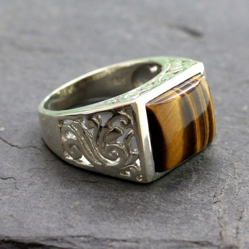 Hand Crafted Sterling Silver and Tiger Eye Men's Ring 'Warmth'