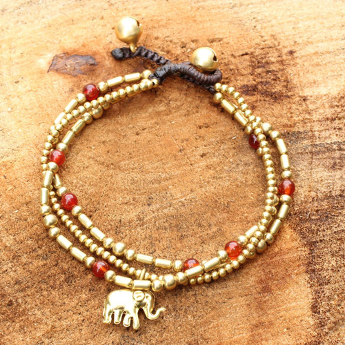Brass Bracelet Carnelian Gems Beaded Jewelry 'Thai Elephant Charm'