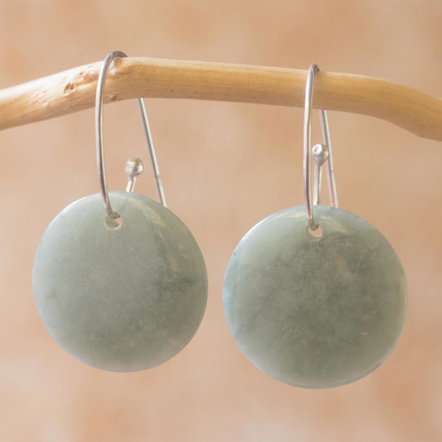 Artisan Crafted Jade and Sterling Silver Earrings 'Maya Moonlight'