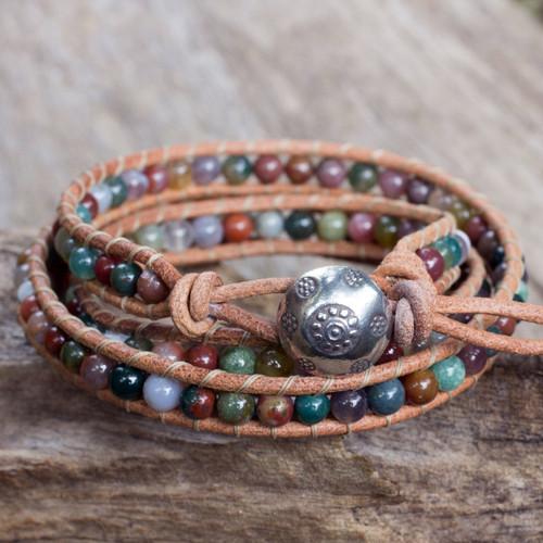 Multi-colored Jasper and Leather Wrap Bracelet 'Inner Harmony'